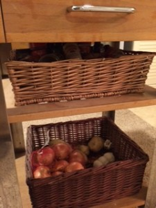 My baskets under my kitchen island