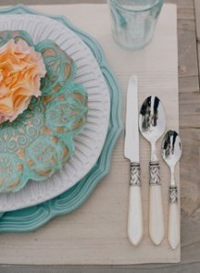 Mismatched Dinnerware Setting & Teal Colored Dinnerware Sets