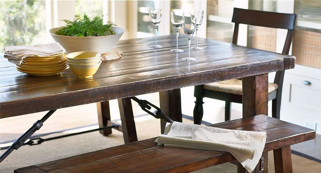 Rustic farmhouse dining table for Farm style kitchen table