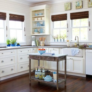 a country cottage style kitchen island
