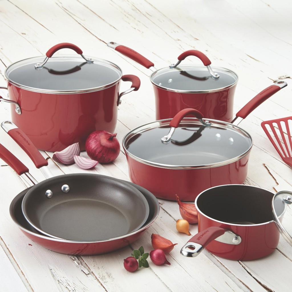 rachael ray pots and pans sets cranberry red