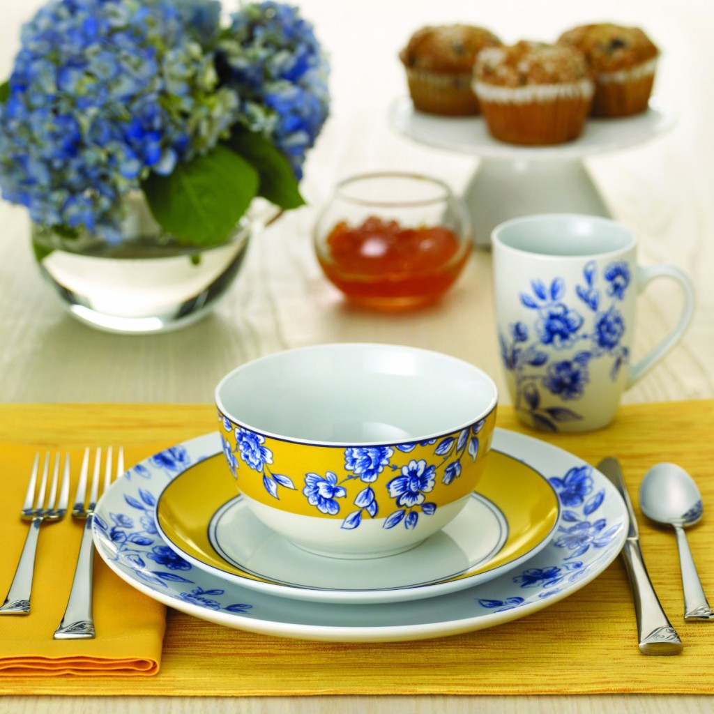 white blue dish sets
