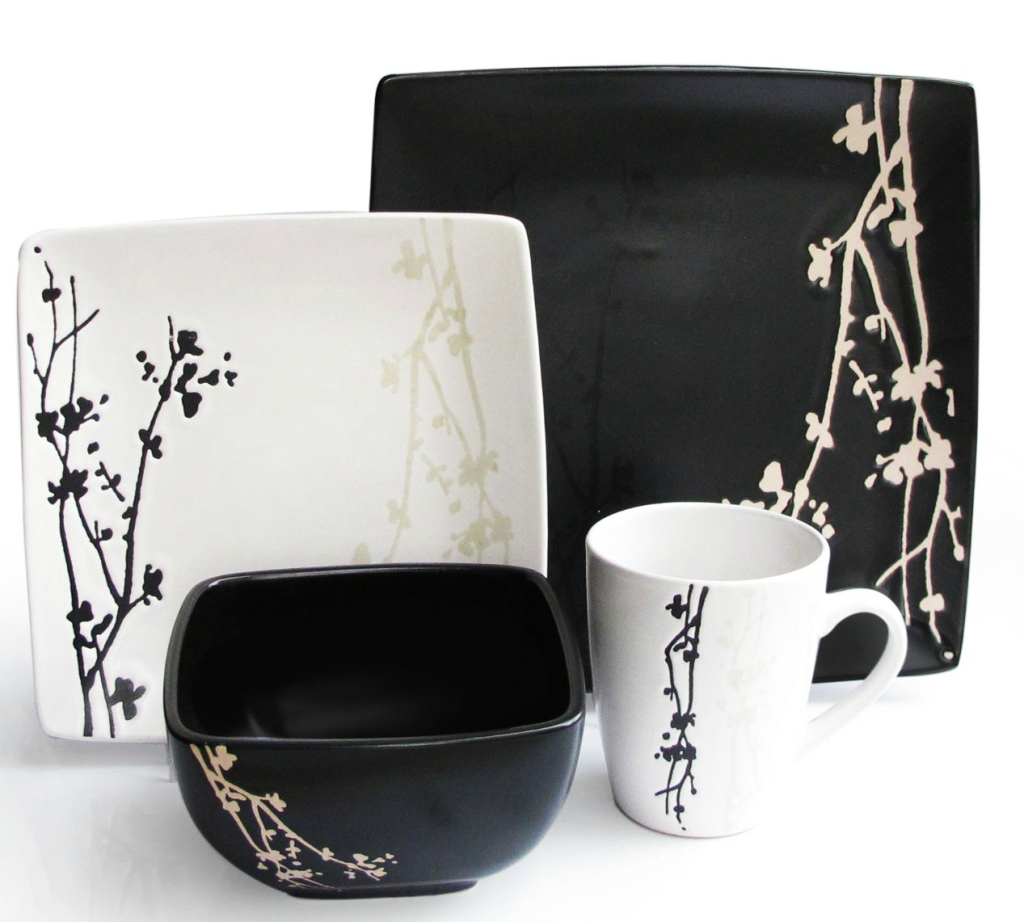 black white dish set