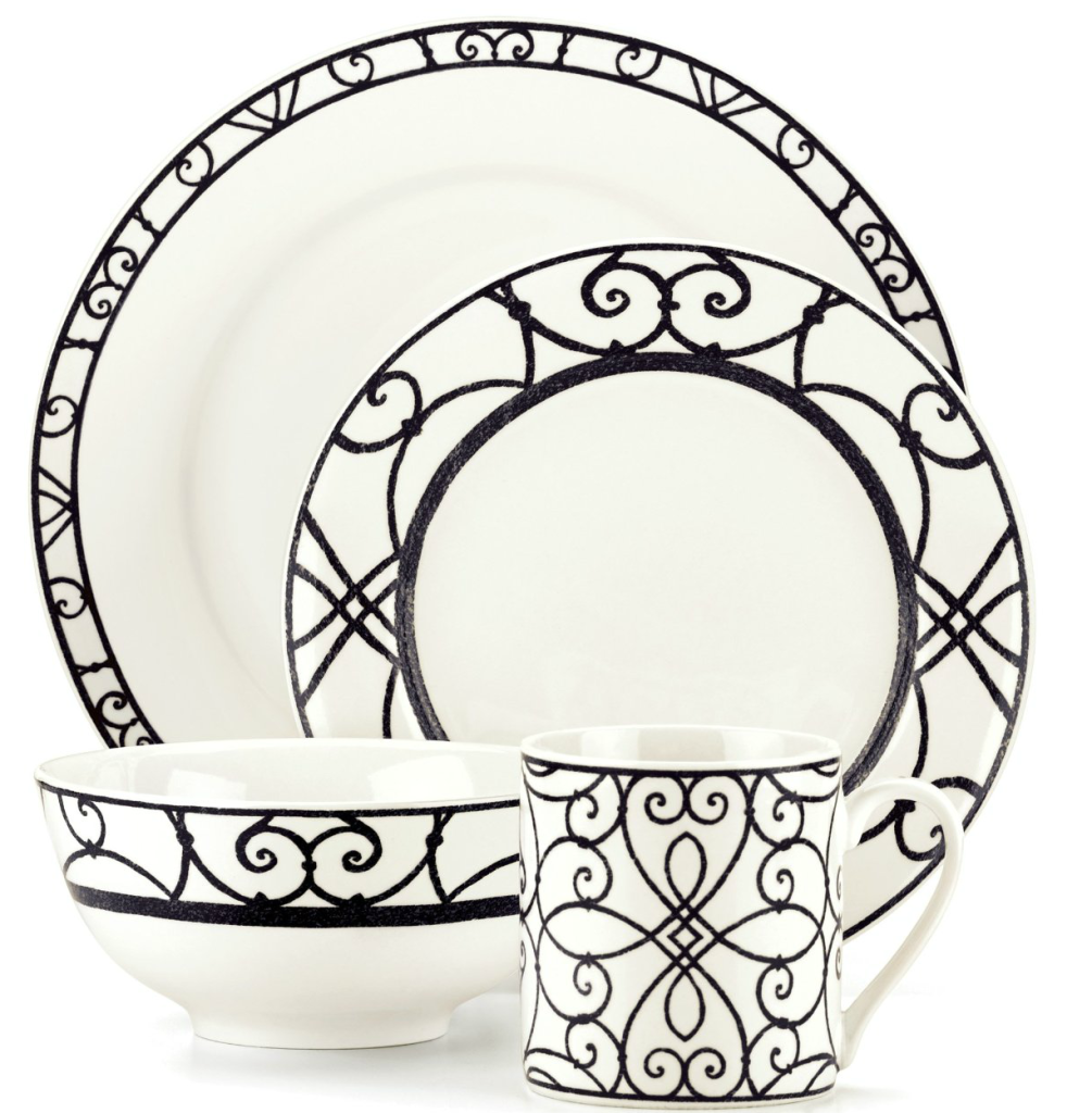 lenox black white dish set