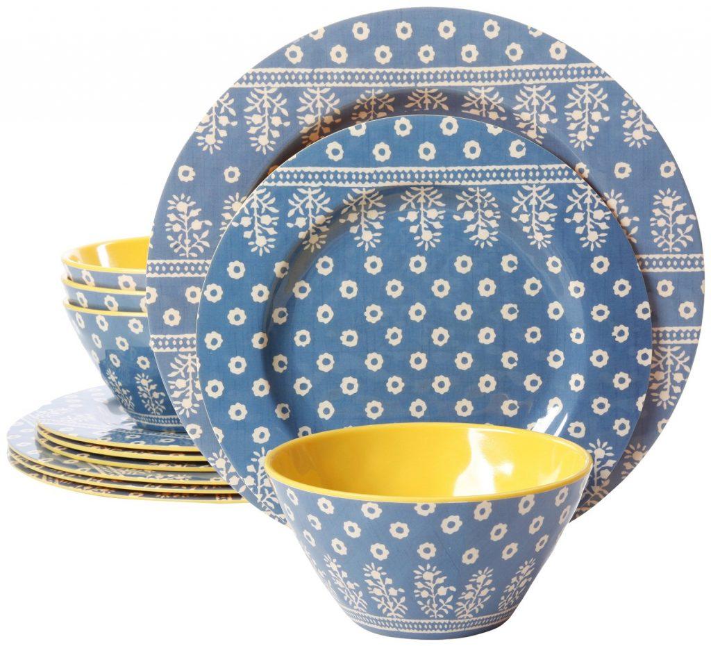 Blue Melamine Dinnerare Set