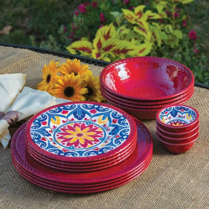 Red Melamine Dinnerware Sets