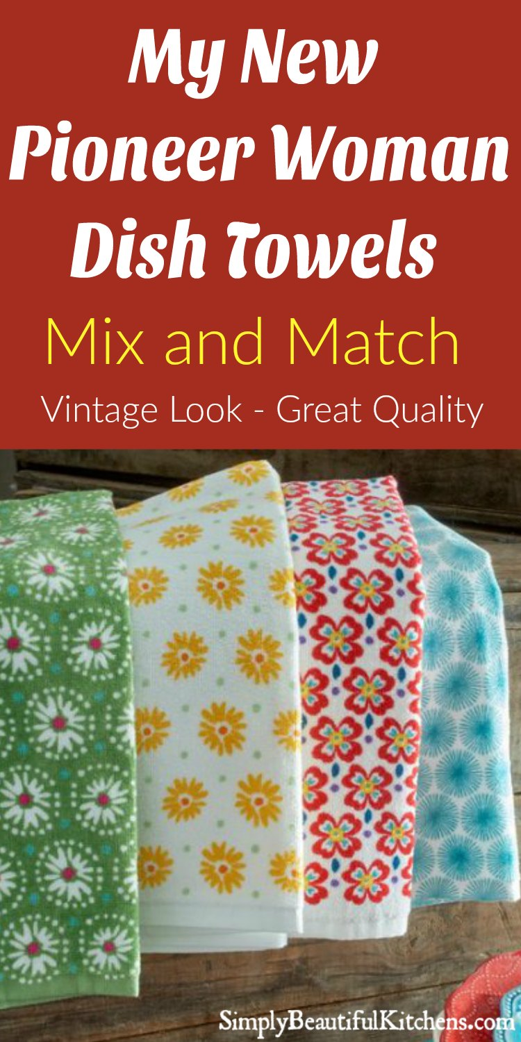 My New Pioneer Woman Dish Towels! Vintage look that gives my kitchen some color. I got the 4 pack and Love it!