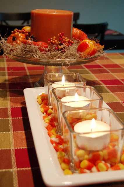 Candy Corn Candle Fall Kitchen Decor Idea
