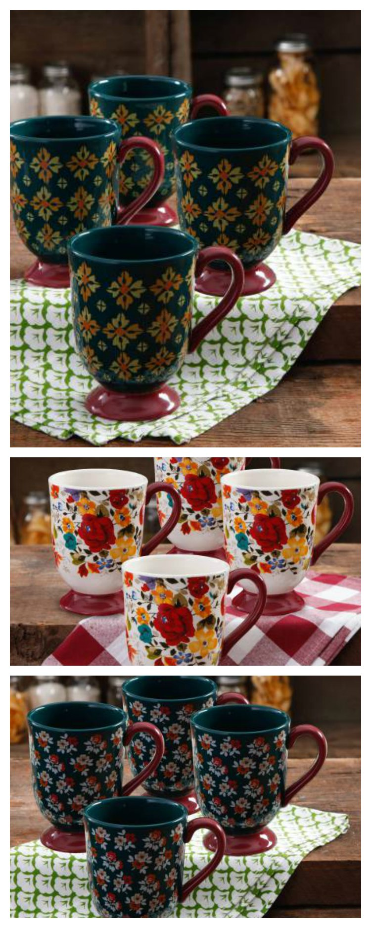 18 Ounce Pioneer Woman Coffee Cups are perfect for coffee, tea or any hot beverage. So pretty and yet so useful. What is your favorite color?