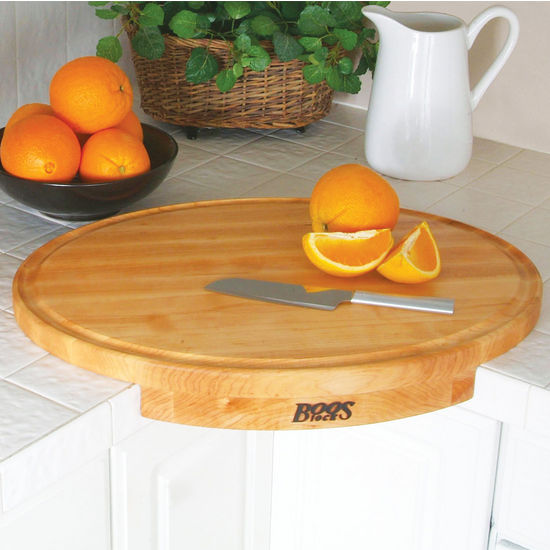 John Boos Corner Counter Saver Maple Wood Oval Cutting Board