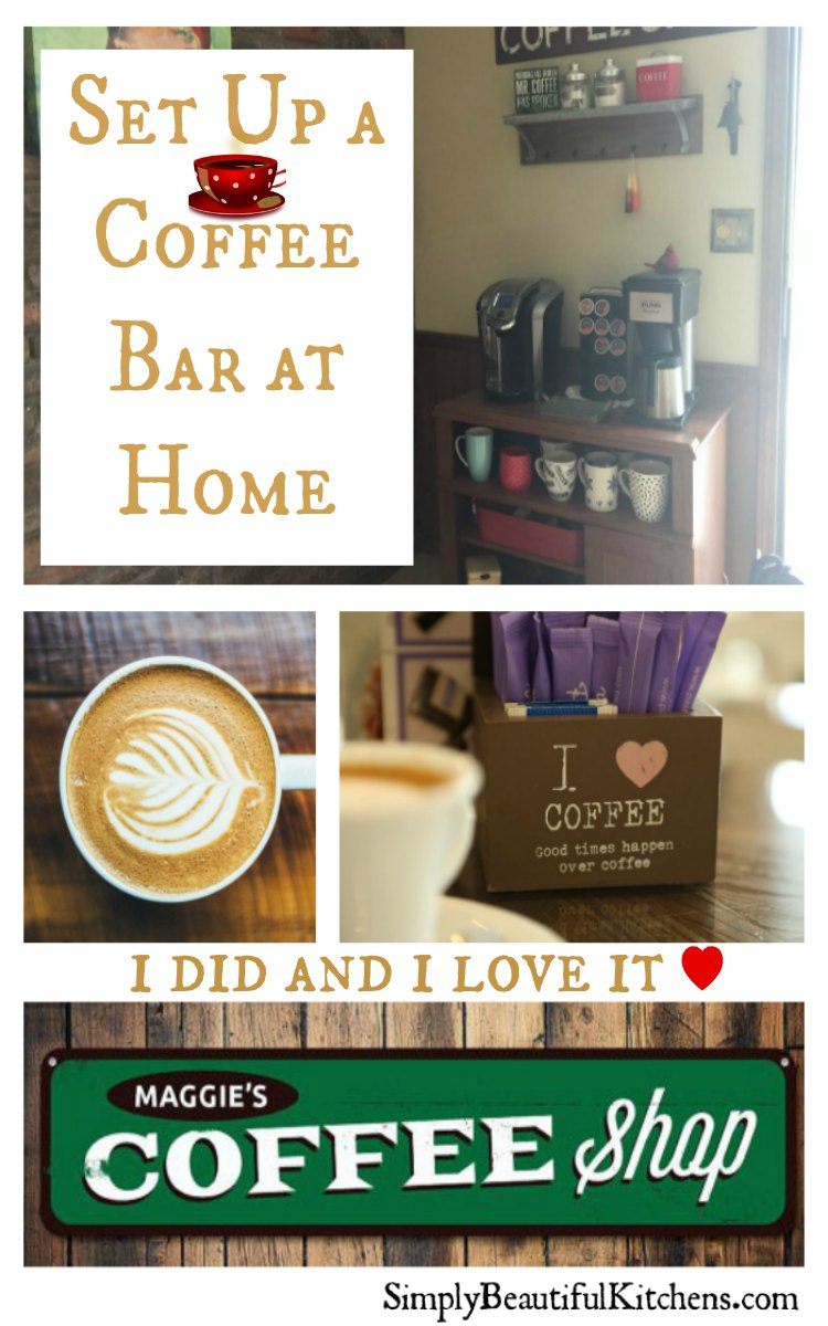 set up coffee bar at home kitchen counter space savers