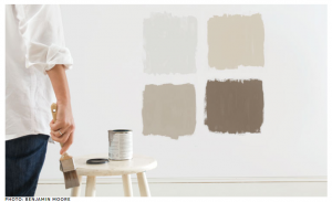 Paint swatches on the wall